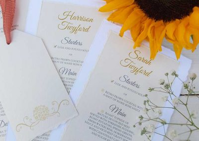 Individually personalised hand-torn Menu Cards