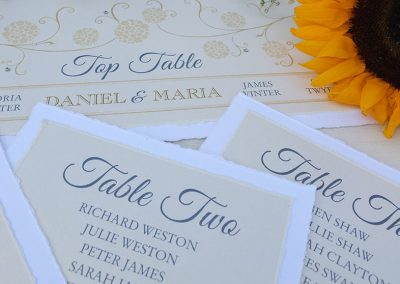 Table Plan Cards, hand-torn finish